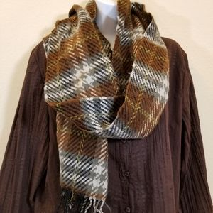 Ultra soft gray & brown plaid scarf with fringe